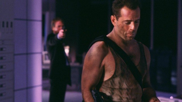 Alan Rickman and Bruce Willis in 'Die Hard'