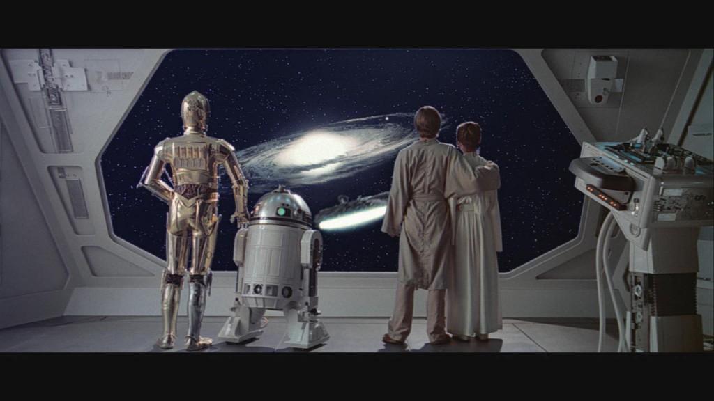 C3PO, R2D2, Luke Sykwalker, and Leia in Star Wars
