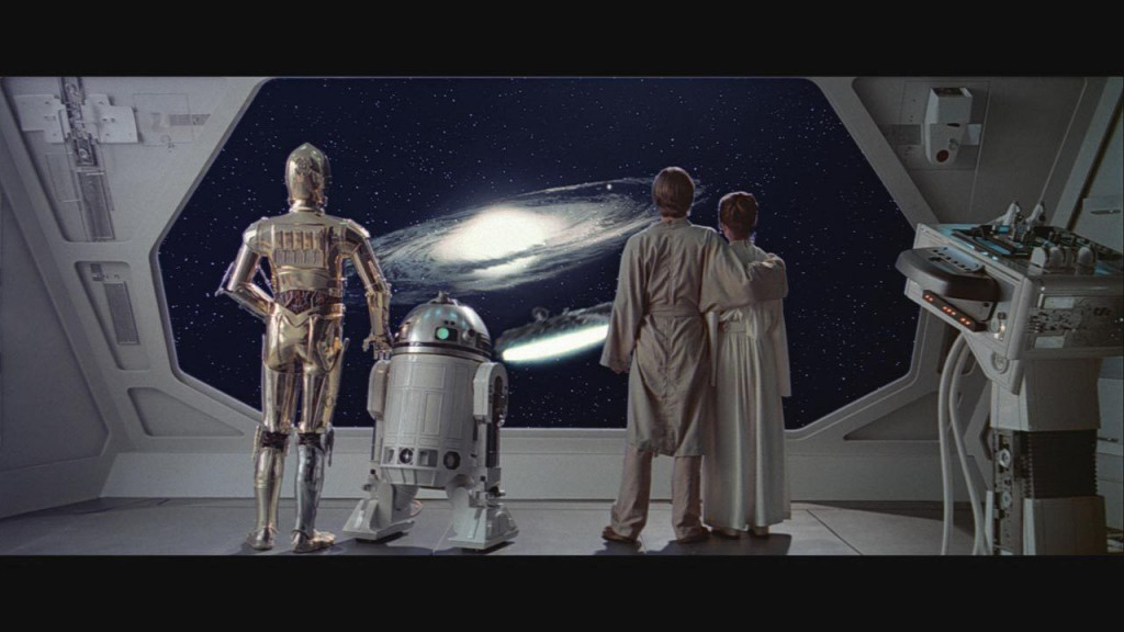 C3PO, R2D2, Luke Sykwalker, and Leia in Star Wars