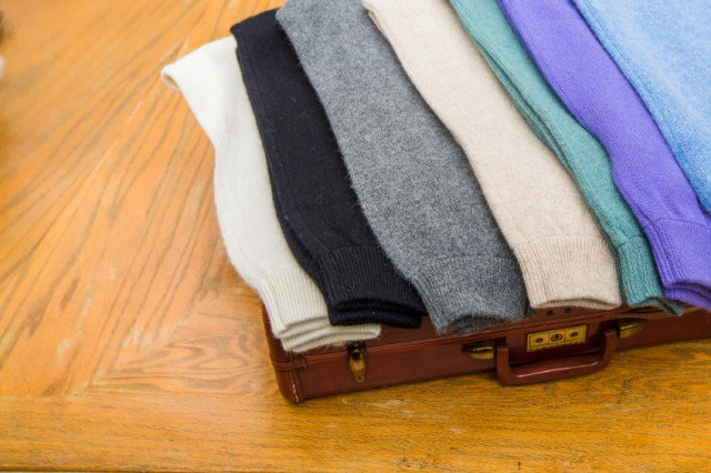 Thin sweaters stacked