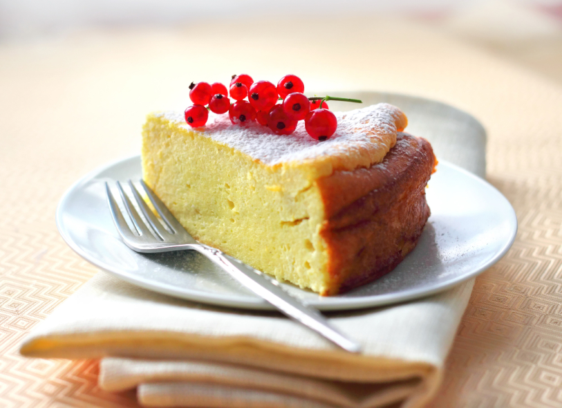 ricotta cheesecake, red currants
