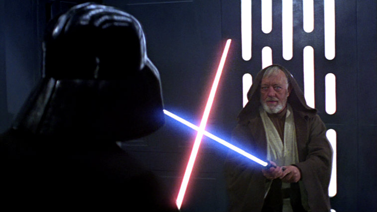David Prowse and Alec Guinness in 'Star Wars: A New Hope'