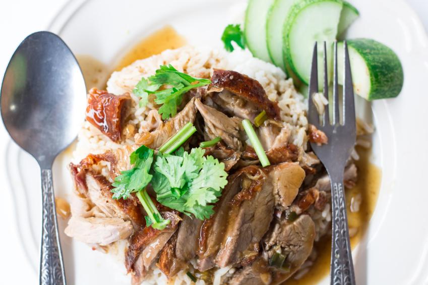 Thai food and silverware