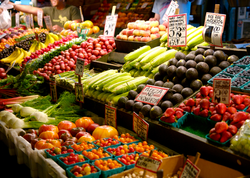 fresh fruits and vegetables at farmers market