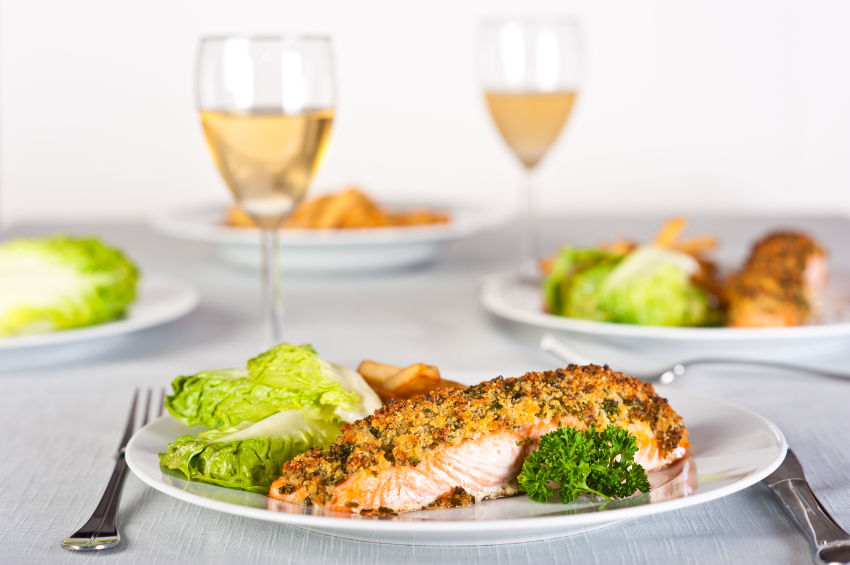 breadcrumb coated salmon with greens