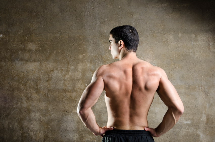 man showing off his back muscles