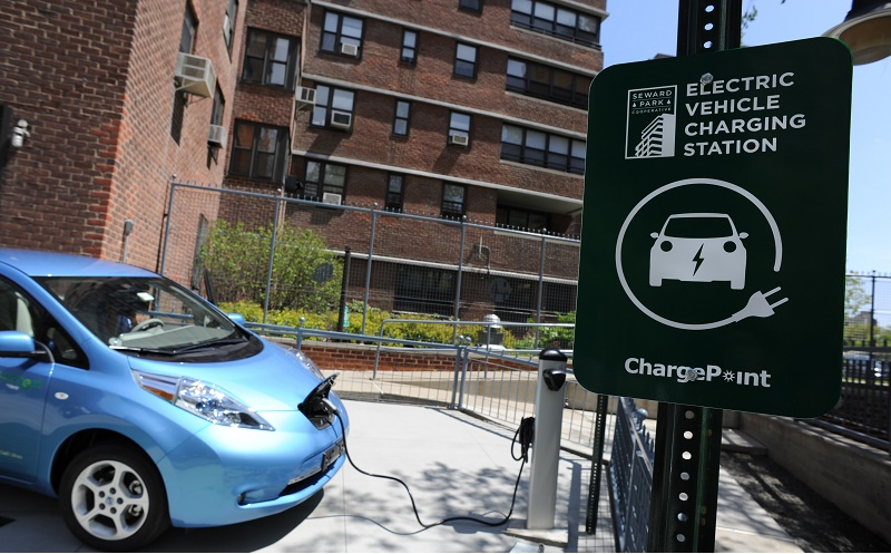 A Nissan Leaf electric car is plugged in