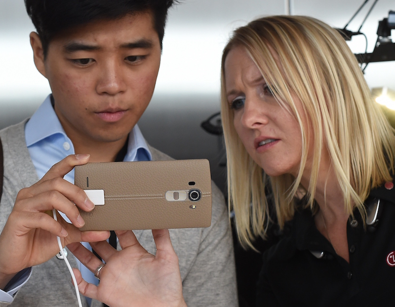Looking at a smartphone