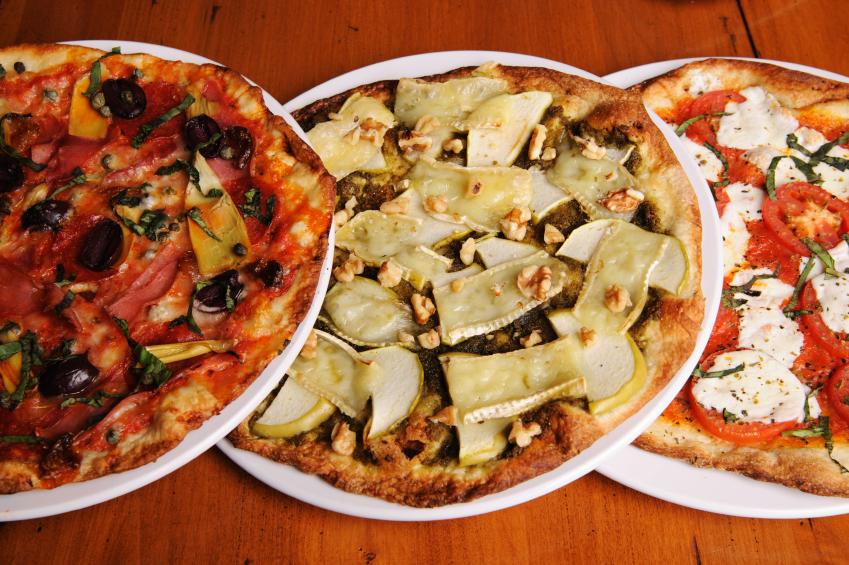 trio of gourmet pizzas