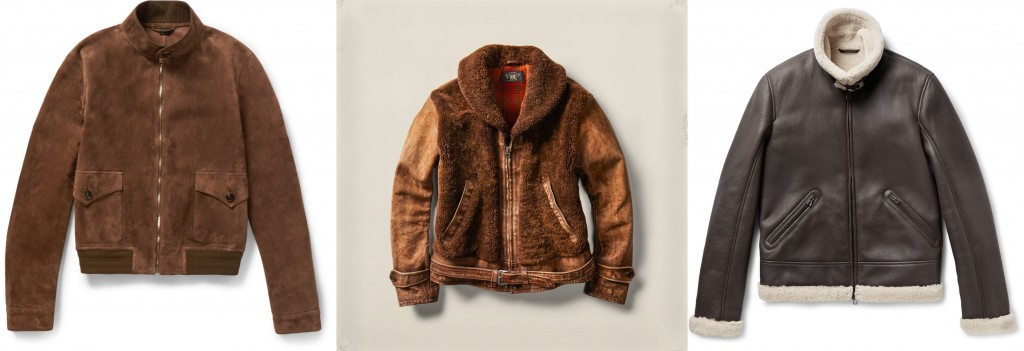 Gucci bomber jacket, RRL shearling jacket, Loro Piana aviator jacket