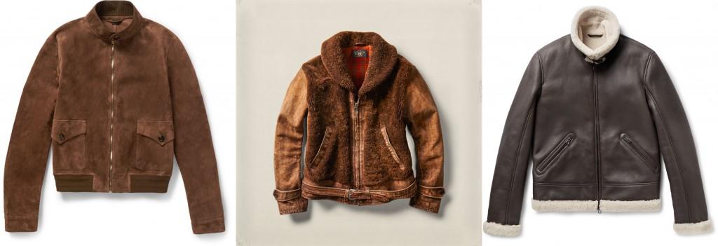 Gucci bomber jacket, RRL shearling jacket, Loro Piana aviator jacket