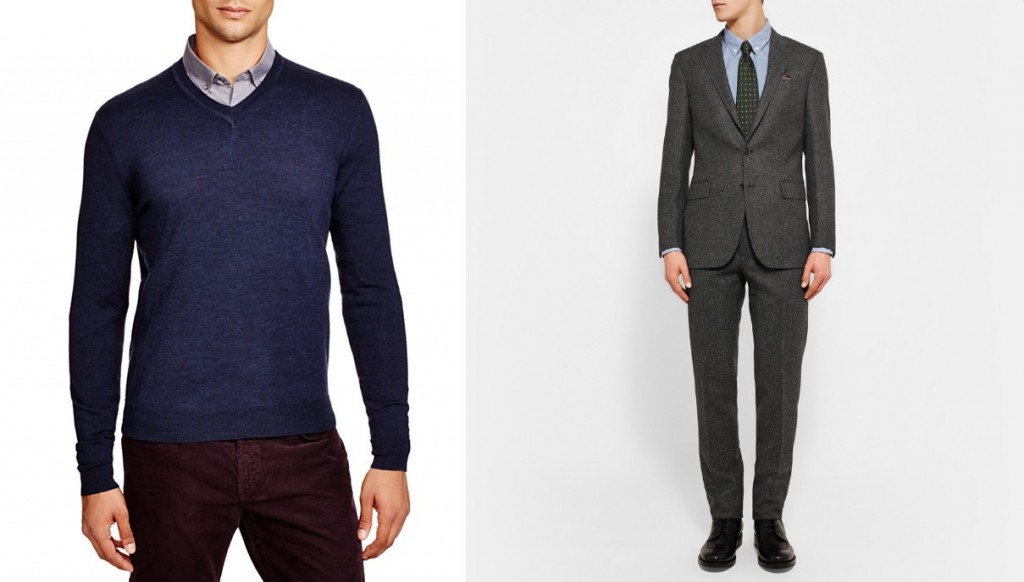 How to wear a sweater with a suit - Bloomingdale's sweater and Ralph Lauren suit