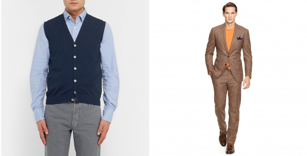 How to wear a sweater with a suit - Incotex knitted waistcoat at Mr. Porter and Ralph Lauren houndstooth suit