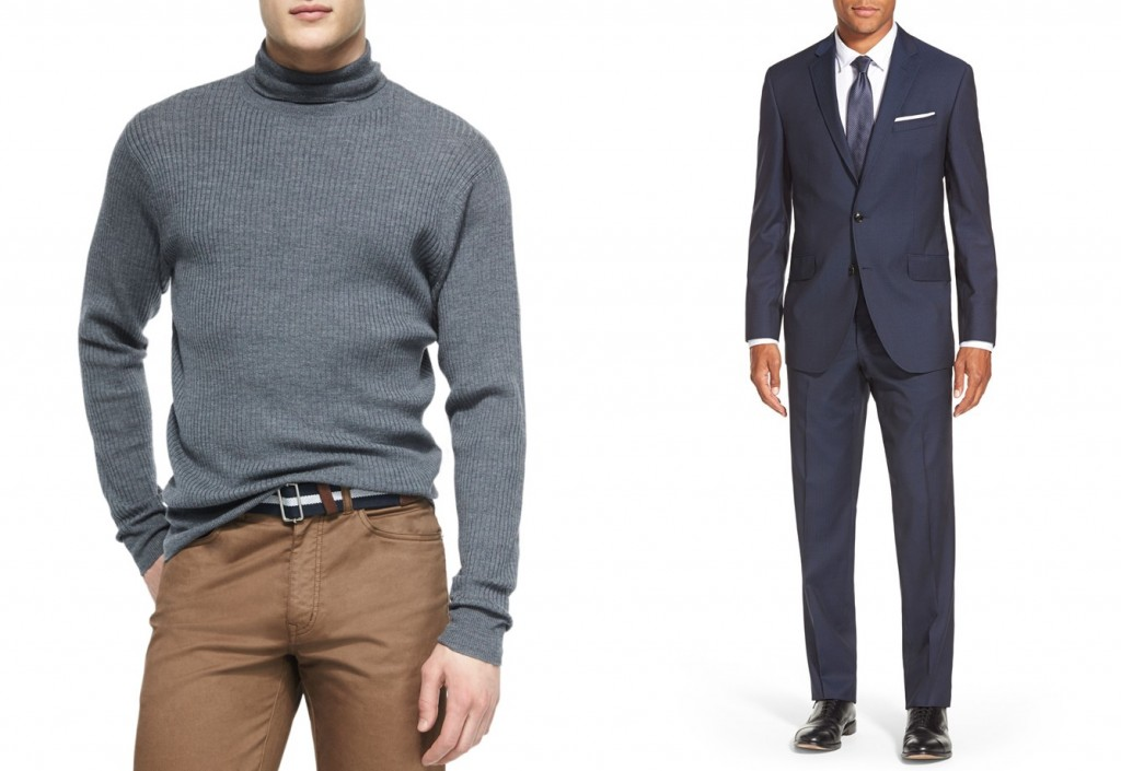 How to wear a sweater with a suit - Peter Millar merino wool turtleneck at Neiman Marcus and Ted Baker wool suit at Nordstrom
