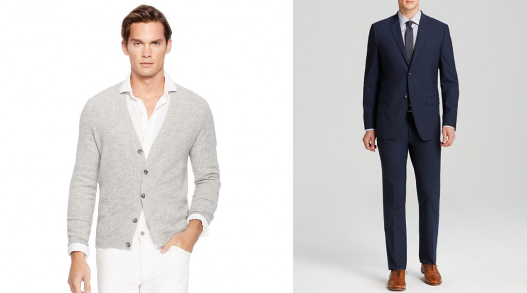 How to wear a sweater with a suit - Ralph Lauren cardigan and Theory suit at Bloomingdale's