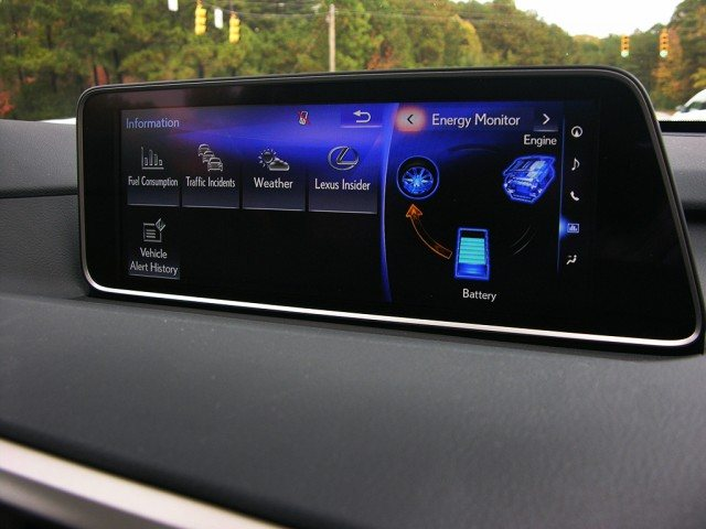 The infotainment screen on a Lexus RX450h