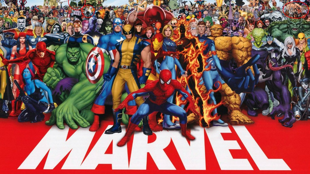 The heroes of the Marvel Universe, all together in a single drawing
