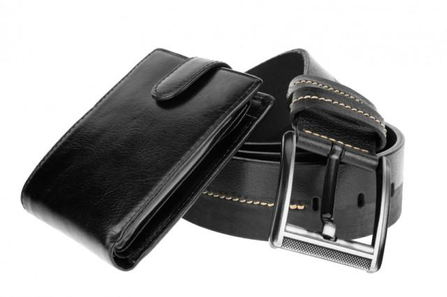 a wallet and a belt
