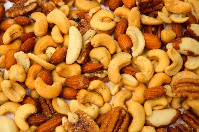 close-up of mixed roasted nuts
