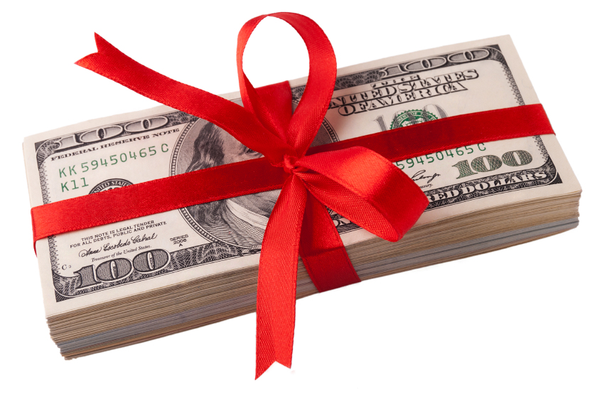 money wrapped in red ribbon