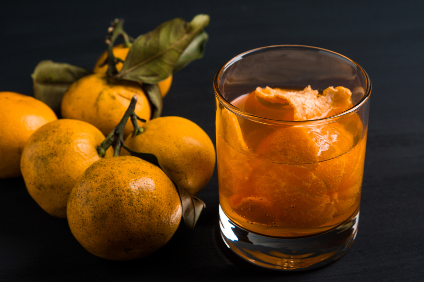 tangerine cocktail with fresh tangerines