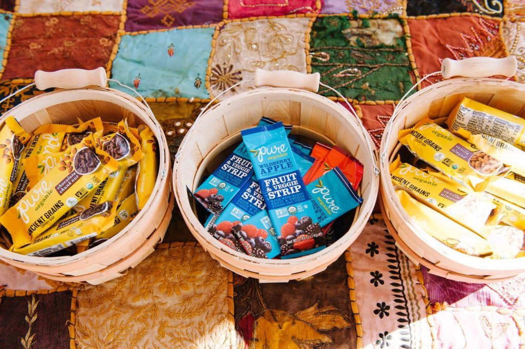 baskets of Pure Bar products