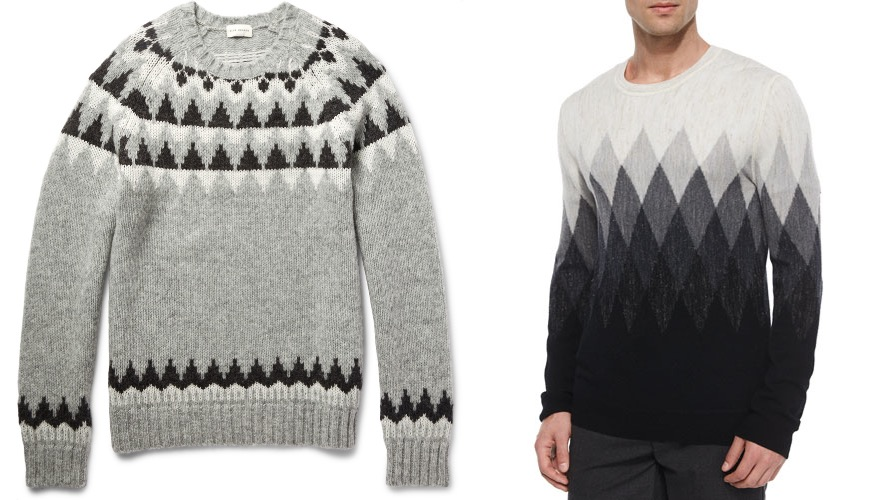 Patterened gray sweaters for holiday parties