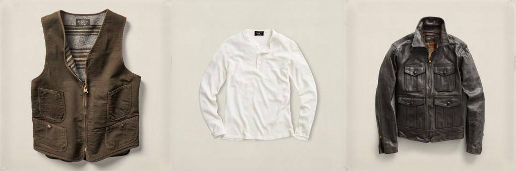 RRL cotton moleskin vest, waffle henley, leather jacket
