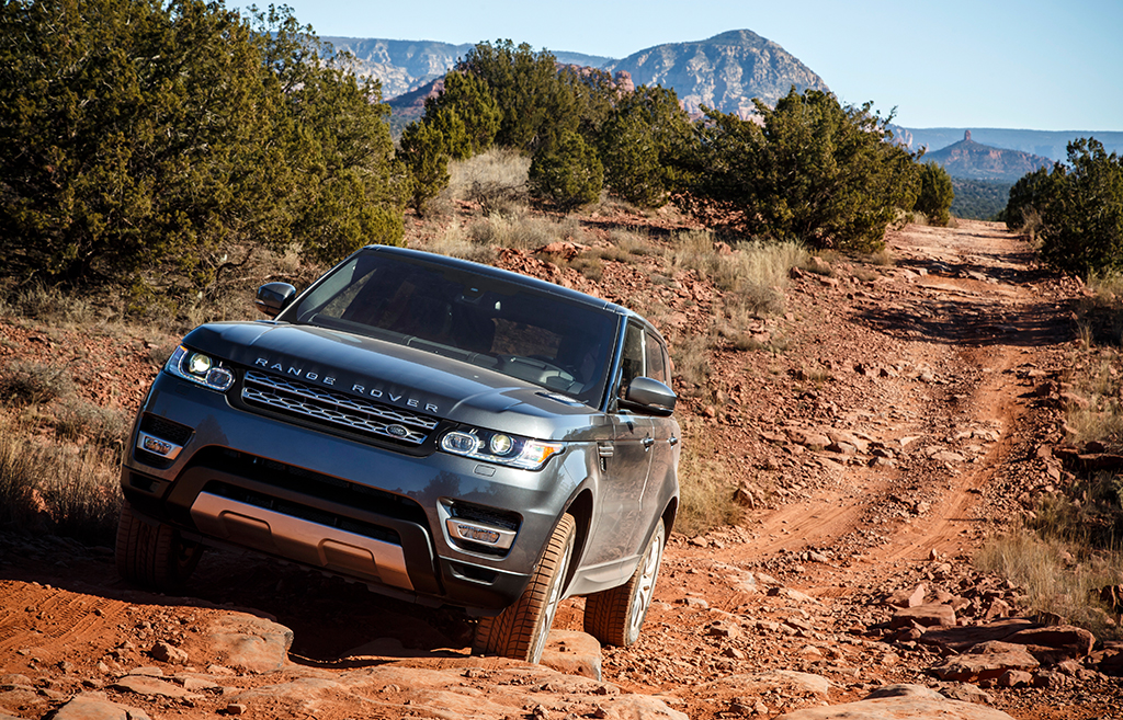 View of a Land Rover Range Rover on the trail