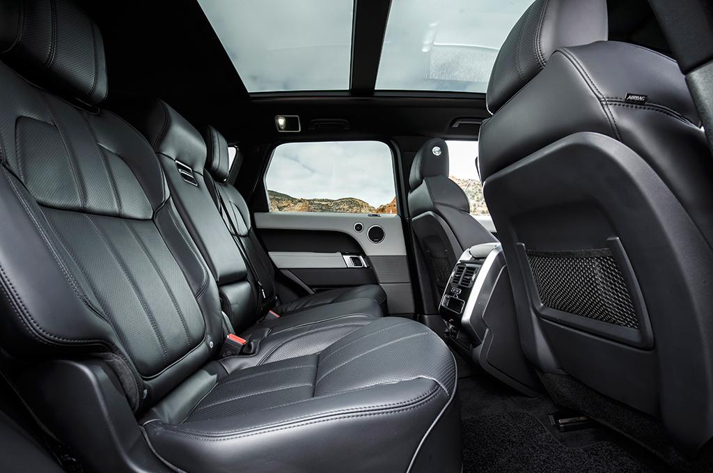 Backseat interior of a luxury vehicle