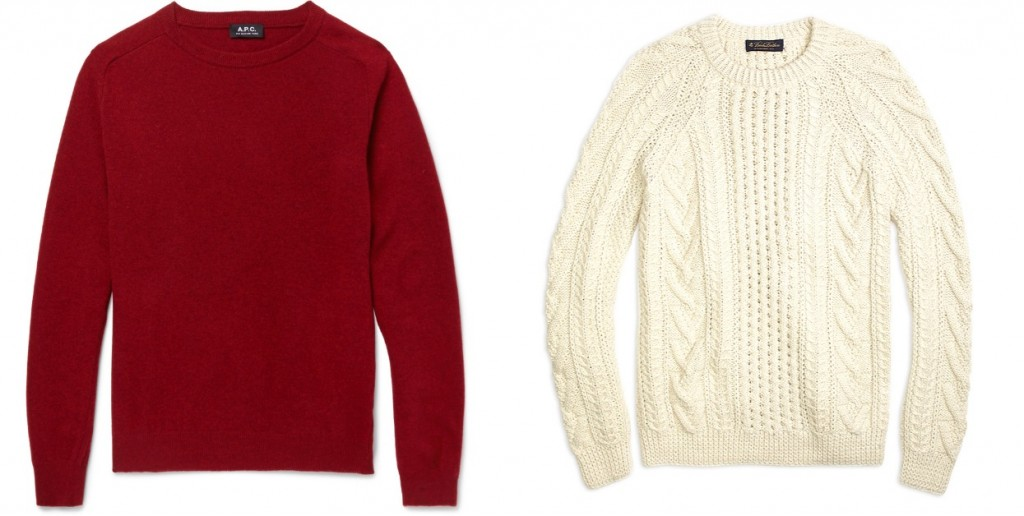 Red sweaters and cable knit sweaters for holiday parties