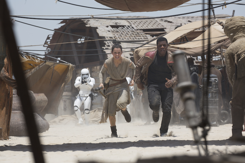 Rey and Finn in Star Wars: The Force Awakens