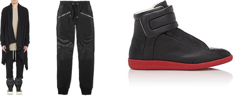 Rick Owens cardigan, Balmain sweatpants, Maison Margiela sneakers