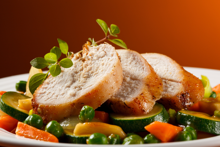sliced turkey breast with vegetables