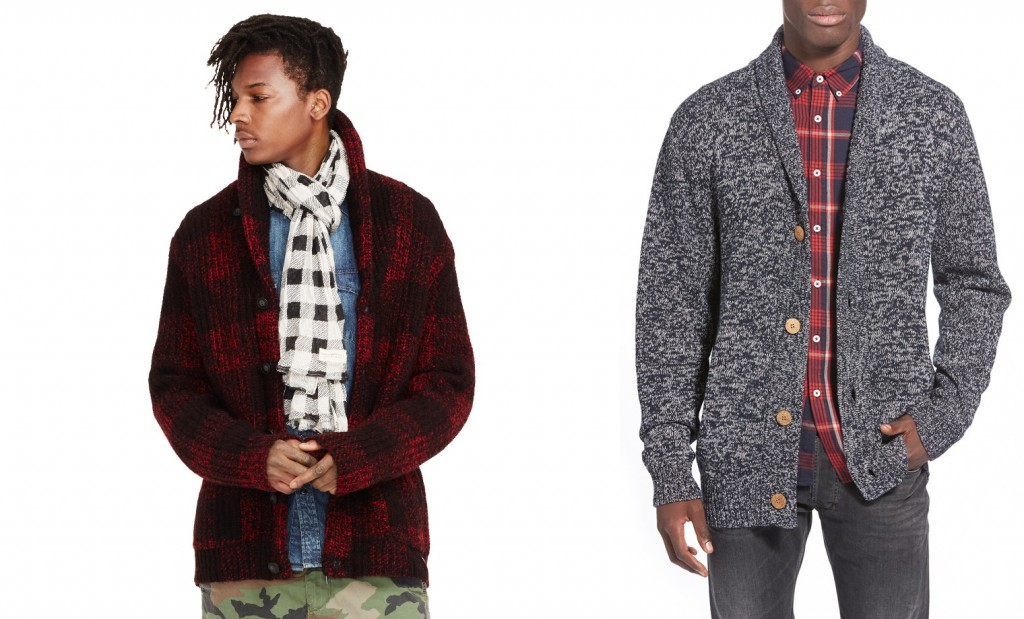 Rugged shawl collar cardigans for holiday parties