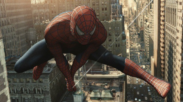 Spider-Man, swimming through buildings in downtown New York
