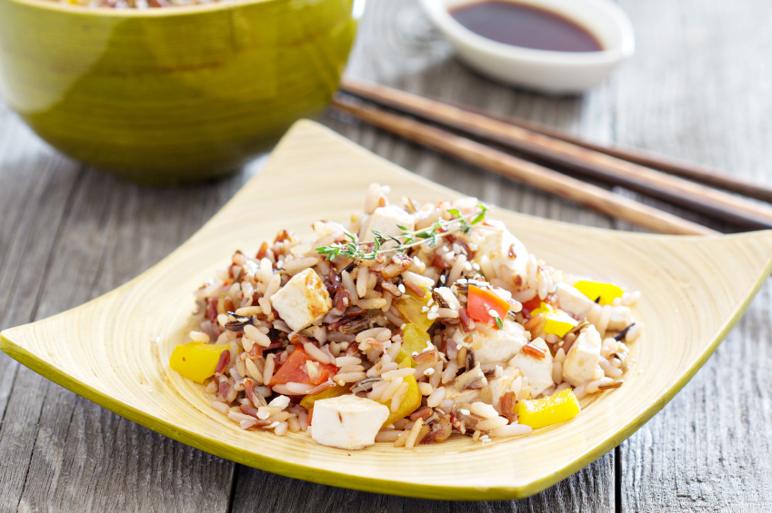 vegetable and tofu stir-fry with wild rice
