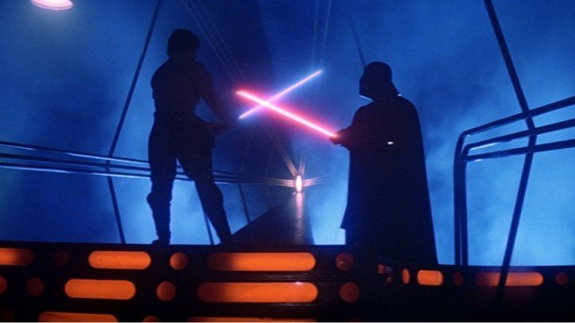 Luke and Darth Vader battle in Star Wars: The Empire Strikes Back