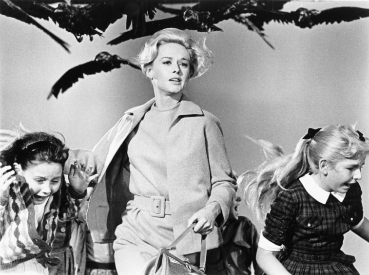 Tippi Hedren and kids running from birds in The Birds.
