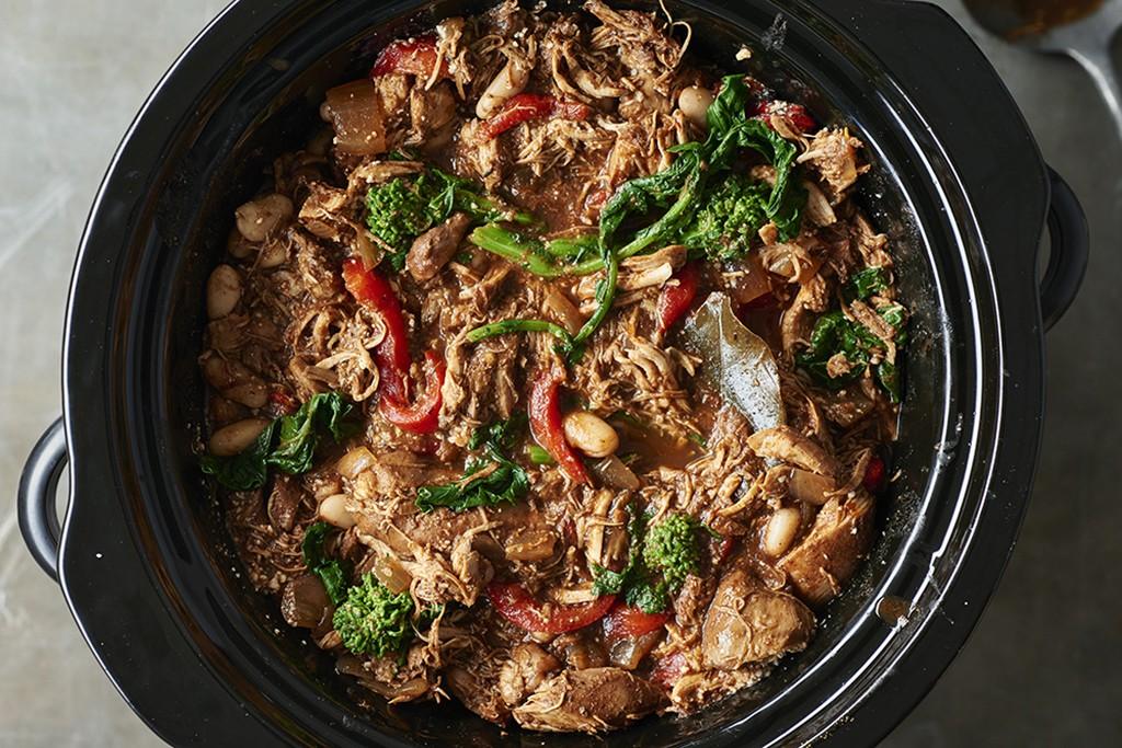 Italian chicken and broccoli chili in a crockpot