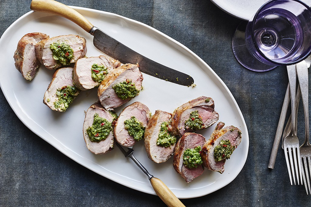 sliced pork tenderloin stuffed with broccoli rabe and cheese
