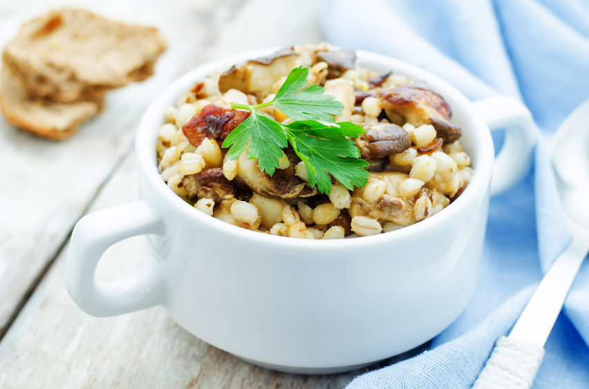 barley and mushroom salad, porridge, parlsey