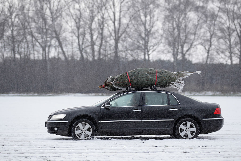 christmas tree on the roof of a car