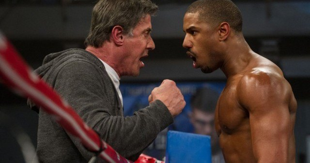Sylvester Stallone as Rocky Balboa and Michael B. Jordan as Adonis Creed in 'Creed'