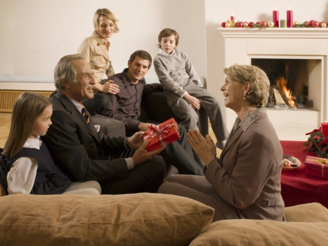 family gathered in living room during the holidays