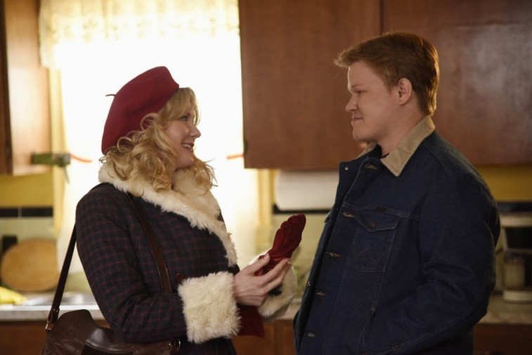 Kirsten Dunst and Jesse Plemons in a kitchen looking at one another on 'Fargo'