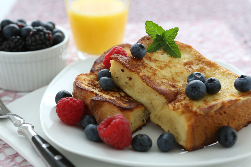 french toast, raspberries, blueberries