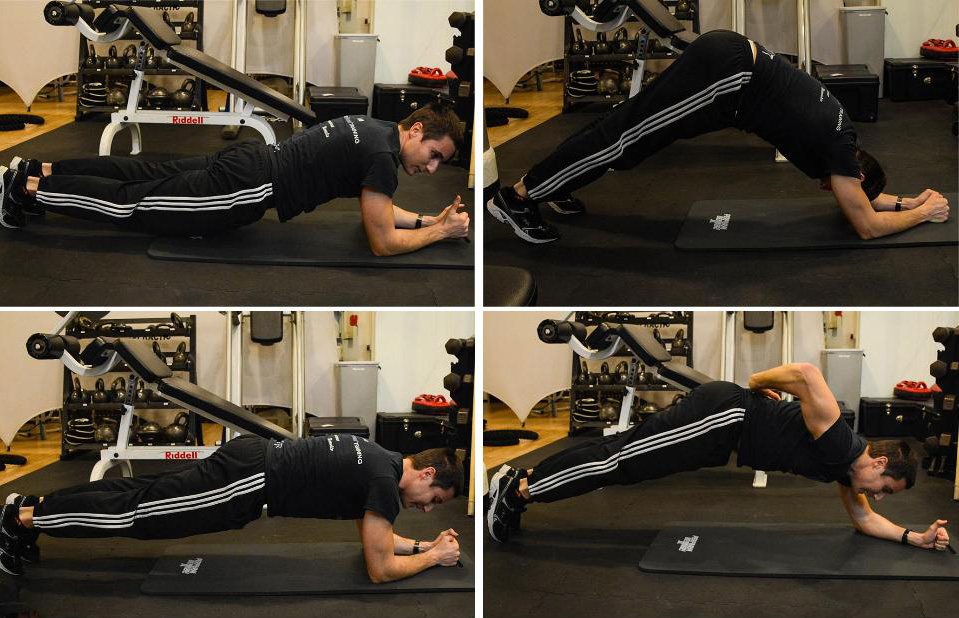 Giacomo Barbieri demonstrating correct and incorrect planks