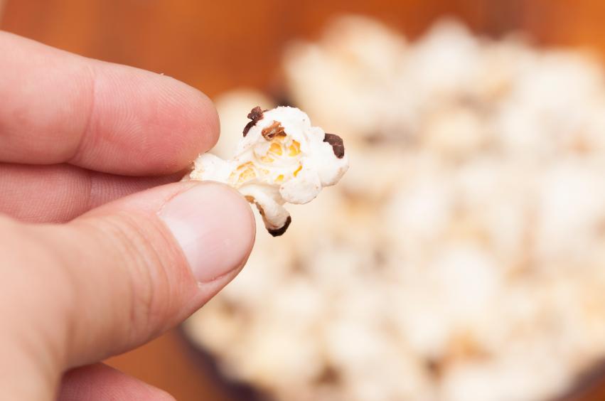 A piece of burnt popcorn