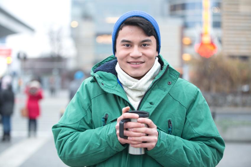 man wearing hat in winter